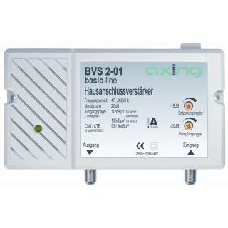 Axing BVS 2-01 BK Hausanschlussverstärker 25db regelbar für Kabelfernsehen
