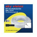 Sky Vision SAT/BK Koaxialkabel 110dB weiß inkl. 2x...