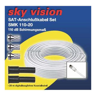 Sky Vision SAT/BK Koaxialkabel 110dB weiß inkl. 4x F-Stecker 20m