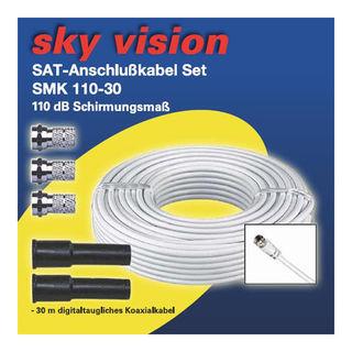 Sky Vision SAT/BK Koaxialkabel 110dB weiß inkl. 4x F-Stecker 30m
