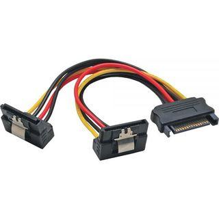 InLine SATA Strom Y-Kabel | Buchse gewinkelt an 2x Stecker gew. 0,15m