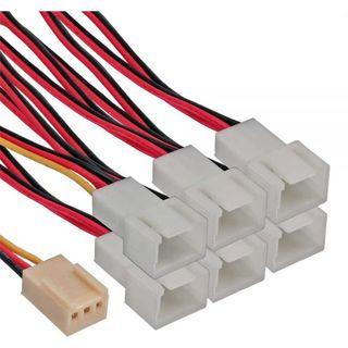 Inline Lüfter Y-Adapterkabel 3Pin Molex Buchse an 6x 3Pin Molex Stecker