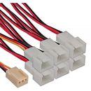 Inline Lüfter Y-Adapterkabel 3Pin Molex Buchse an 6x...