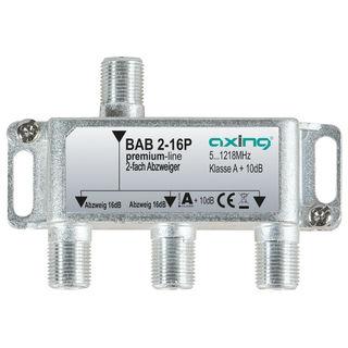 Axing BAB 2-16P BK / Kabelfernsehen Abzweiger 2fach   5...1218 MHz   16dB