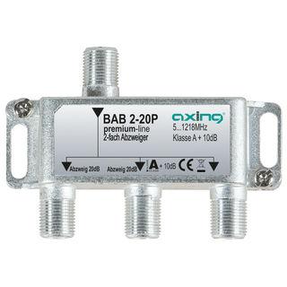 Axing BAB 2-20P BK / Kabelfernsehen Abzweiger 2fach | 5...1218 MHz | 20dB