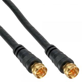 Inline SAT Kabel 2x geschirmt   2x F-Stecker   >85dB   schwarz 5m
