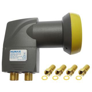 Humax LNB 143s Gold, 0,1dB Quad-LNB für 4 Receiver | inkl. 4 F-Stecker