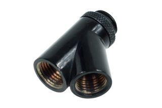Alphacool HF Y-45° Verbinder   G1/4 drehbar 2x Innen 1x Außengewinde Deep Black