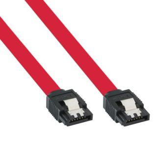 InLine® SATA 3 - 6Gb/s Kabel, rot, mit Lasche, 0,5m