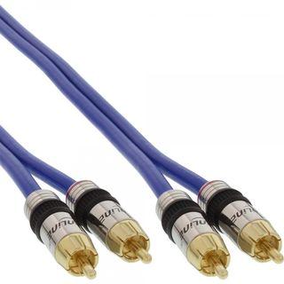 InLine Premium Cinch Kabel 2x St.->St. blau verg. Kontakte 0,5m